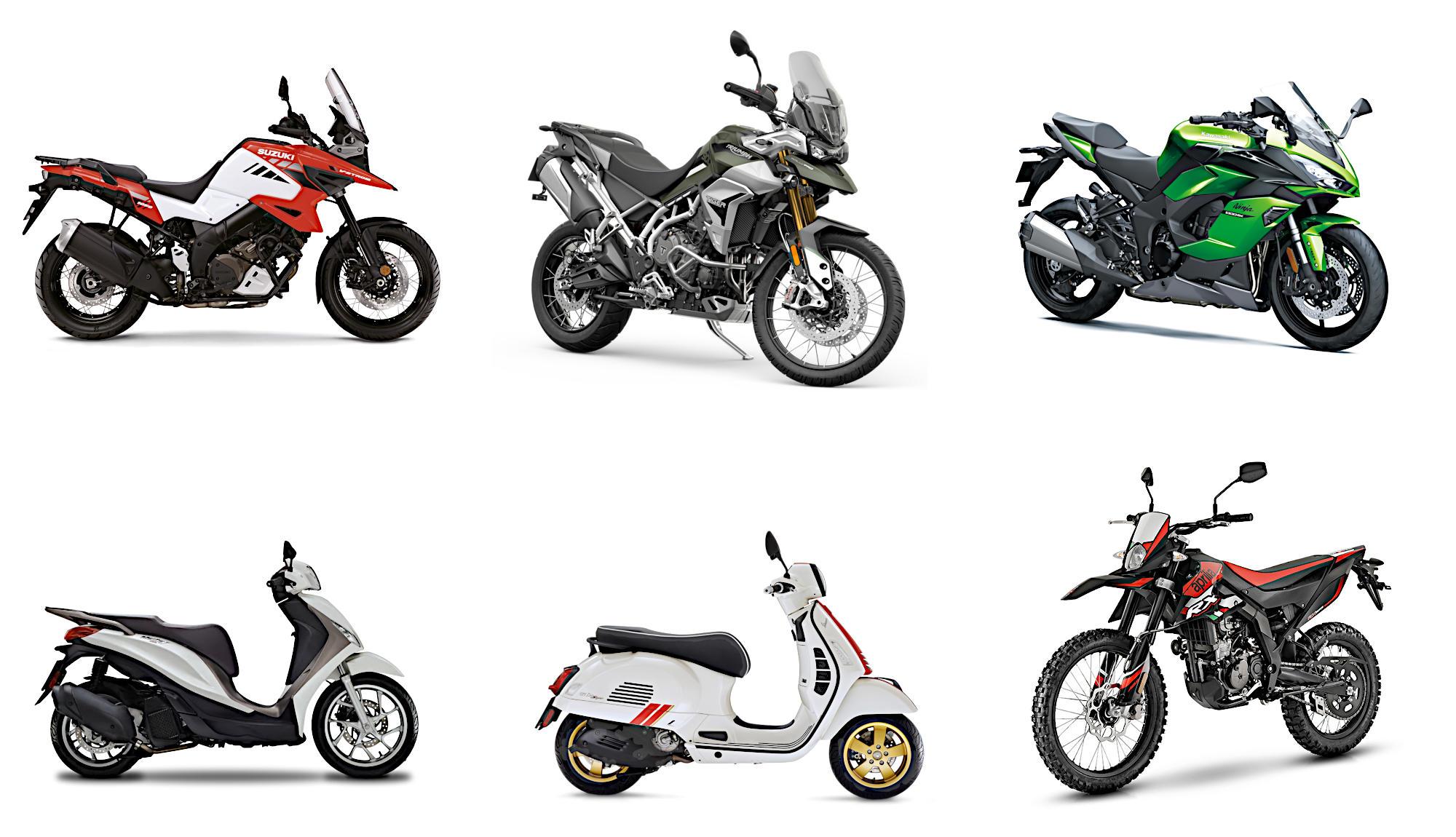 Neufahrzeuge: Suzuki, Triumph, Kawasaki, Piaggio, Vespa und Aprilia